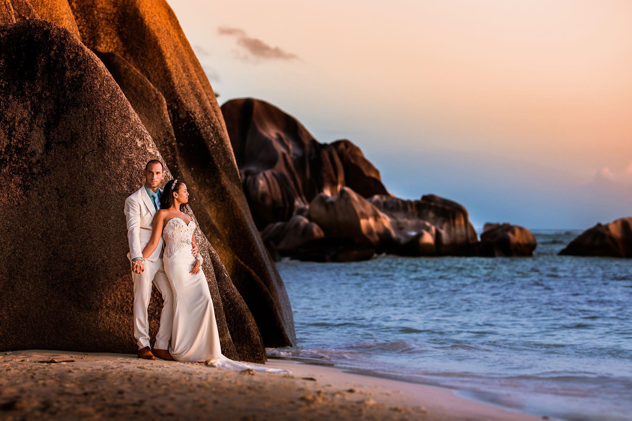 Hochzeitsfoto Seychellen Sonnenuntergang Ausland